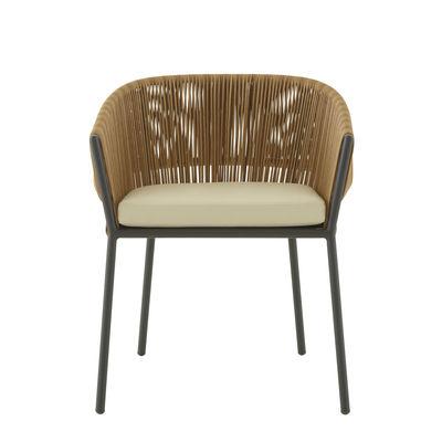 Mobilier - Fauteuils - Fauteuil Lapel / Rotin synthétique - Coussin d'assise - Cinna - Naturel / Charbon - Aluminium laqué, Rotin synthétique, Tissu polyester