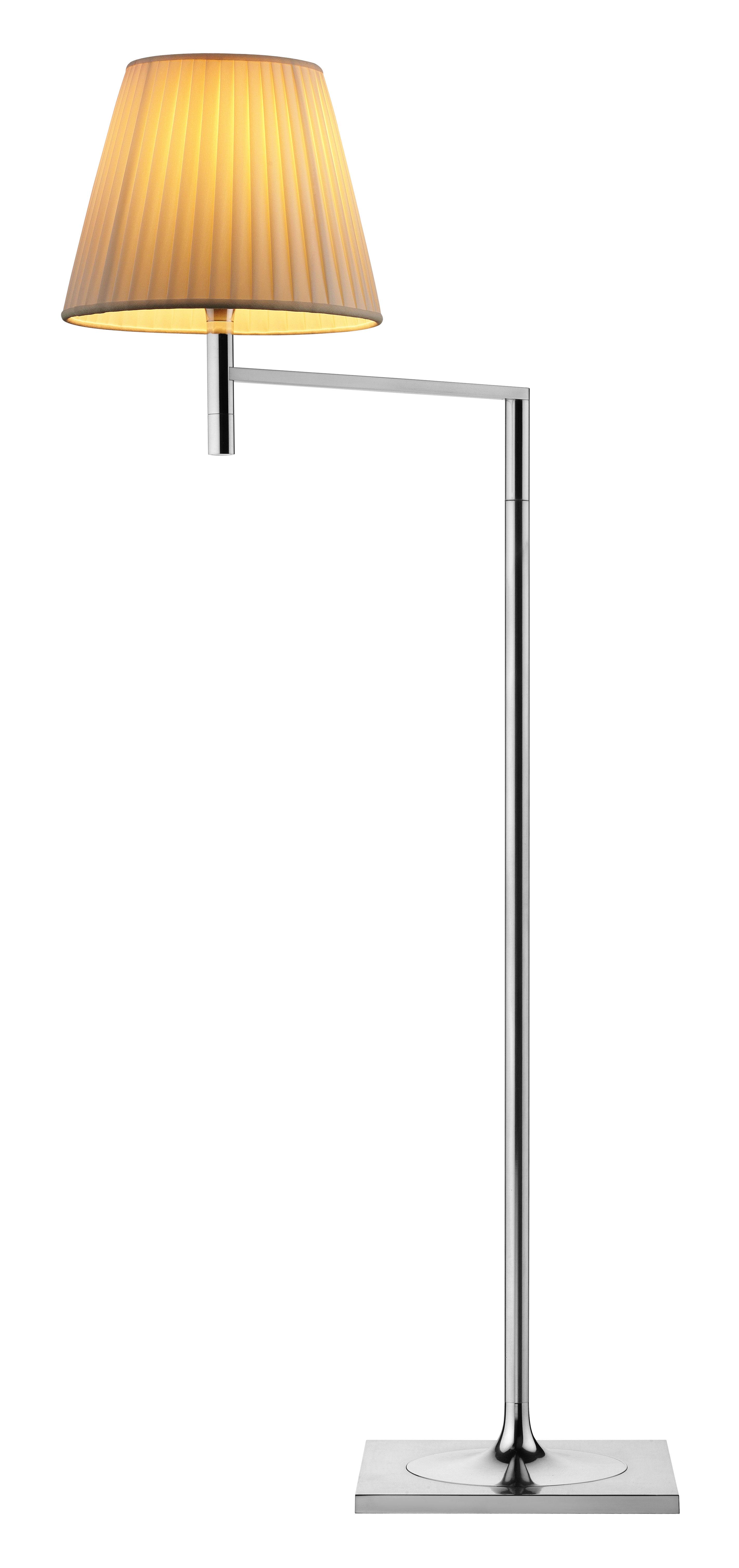 Illuminazione - Lampade da terra - Lampada a stelo K Tribe F1 Soft - H 112 cm di Flos - Tessuto plissettato - Alluminio lucido, Tessuto