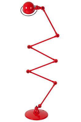 Illuminazione - Lampade da terra - Lampada a stelo Loft Zigzag - 6 bracci articolati - H max 240 cm di Jieldé - Rosso brillante - Acciaio inossidabile