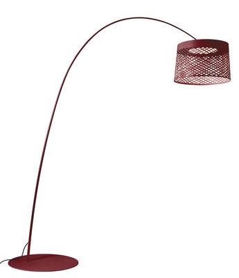 Illuminazione - Lampade da terra - Lampada a stelo Twiggy Grid LED Outdoor - / Ø 46 x H 29 cm di Foscarini - Carminio - Fibra di vetro, Materiale composito, metallo verniciato