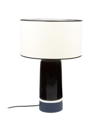 Lampe de table Sicilia Large / H 57 cm - Céramique - Maison Sarah Lavoine blanc,noir,bleu broadway en tissu