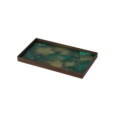 Tavola - Vassoi  - Piano/vassoio Malachite Organic - / Svuota-tasche - 31 x 17 cm / Vetro dipinto a mano di Ethnicraft - 31 x 17 cm / Toni verdi - Metallo, Vetro serigrafato