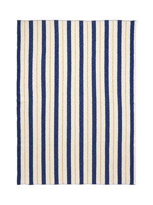 Mobilier - Mobilier Kids - Plaid enfant Rayures - Effet 3D / 120 x 160 cm - Ferm Living - Bleu & jaune - Coton