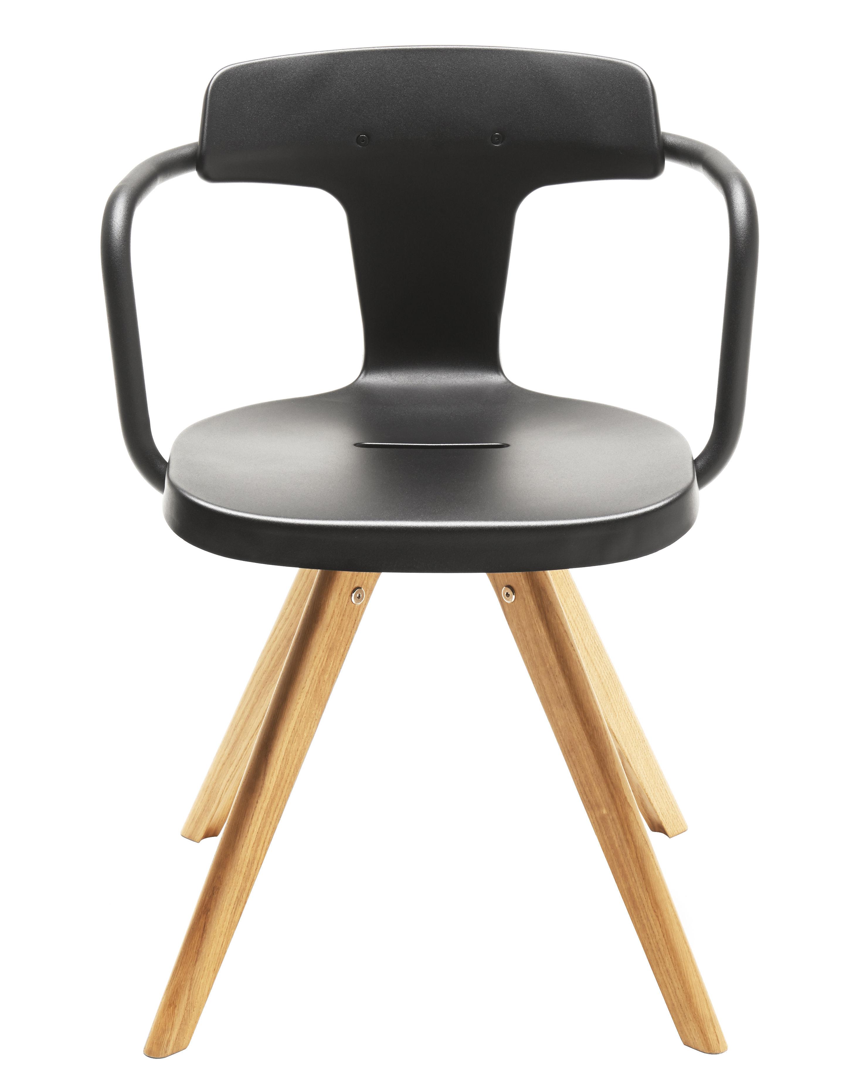 Möbel - Stühle  - T14 Sessel / Stuhlbeine aus Holz - Tolix - Schwarz / Stuhlbeine holzfarben - Eiche, Lackierter recycelter Stahl