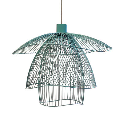 Illuminazione - Lampadari - Sospensione Papillon Small - / Ø 56 cm di Forestier - Blu grigio - Acciaio termolaccato