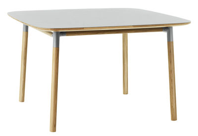 Furniture - Dining Tables - Form Square table - 120 x 120 cm by Normann Copenhagen - Grey / oak - Linoleum, Oak, Polypropylene