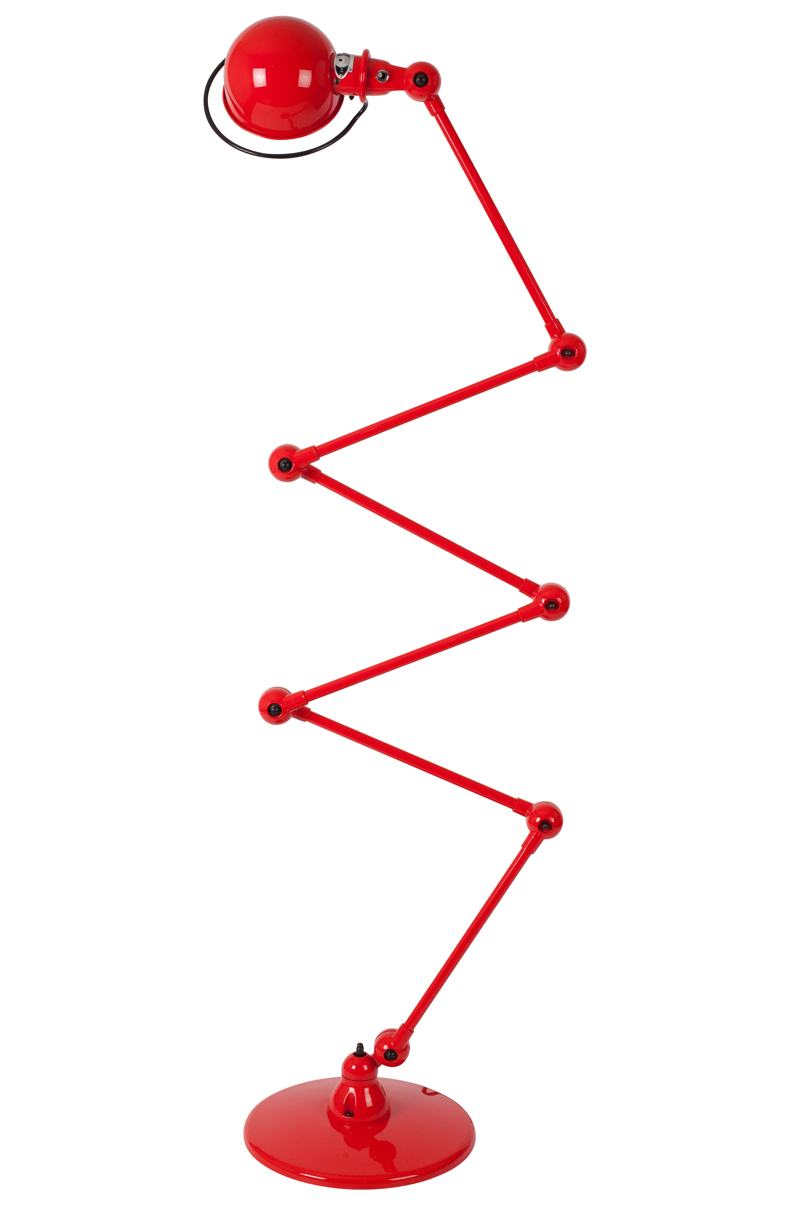 Leuchten - Stehleuchten - Loft Zigzag Stehleuchte / mit 6 Gelenkarmen - H max. 240 cm - Jieldé - Rot-glänzend - rostfreier Stahl