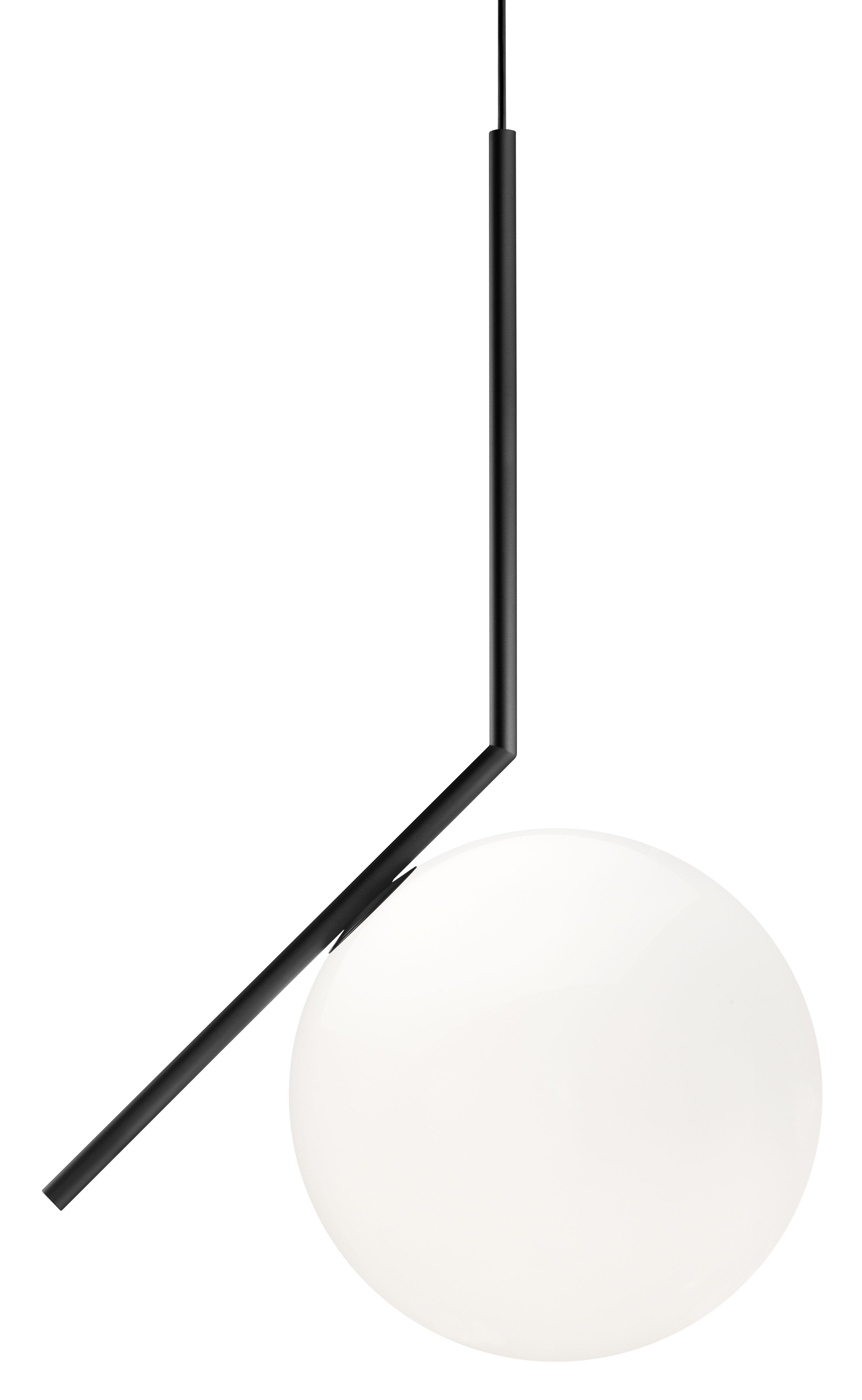Luminaire - Suspensions - Suspension IC S2 / H 72 cm - Flos - Noir - Acier verni, Verre soufflé