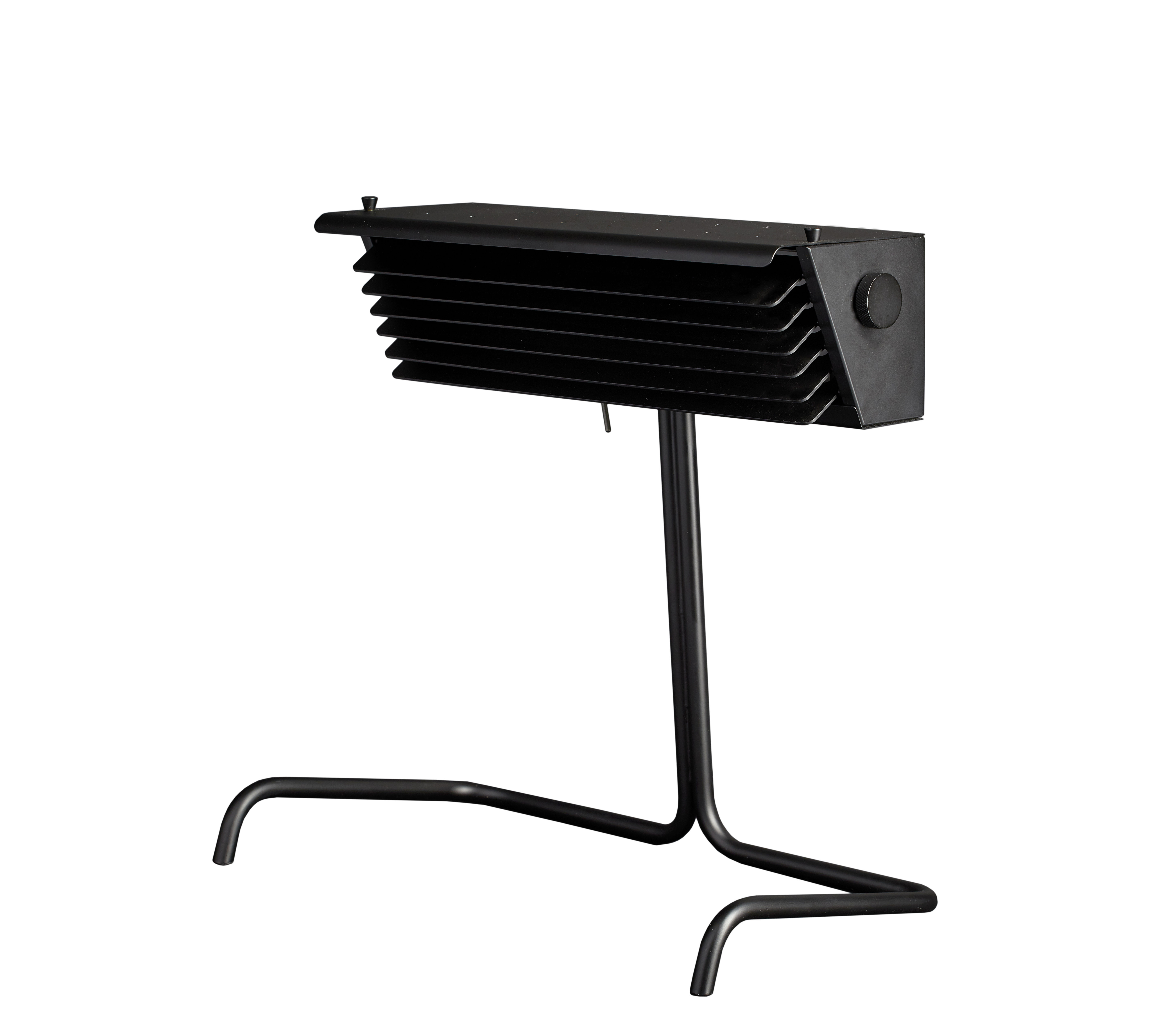 Lighting - Table Lamps - Biny LED Table lamp - / 1957 reissue - H 33 cm by DCW éditions - Black / Black fins - Aluminium, Steel
