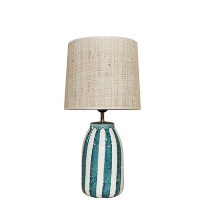 Lighting - Table Lamps - Palmaria Small Table lamp - / H 48 cm - Ceramic & raffia by Maison Sarah Lavoine - Sarah blue - Ceramic, Natural rabana
