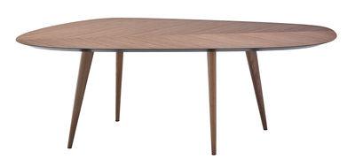 Arredamento - Tavoli - Tavolo ovale Tweed - / 213 x 102 cm di Zanotta - Noce / Parte inferiore del top: nero - Legno impiallacciato noce, Noce massello
