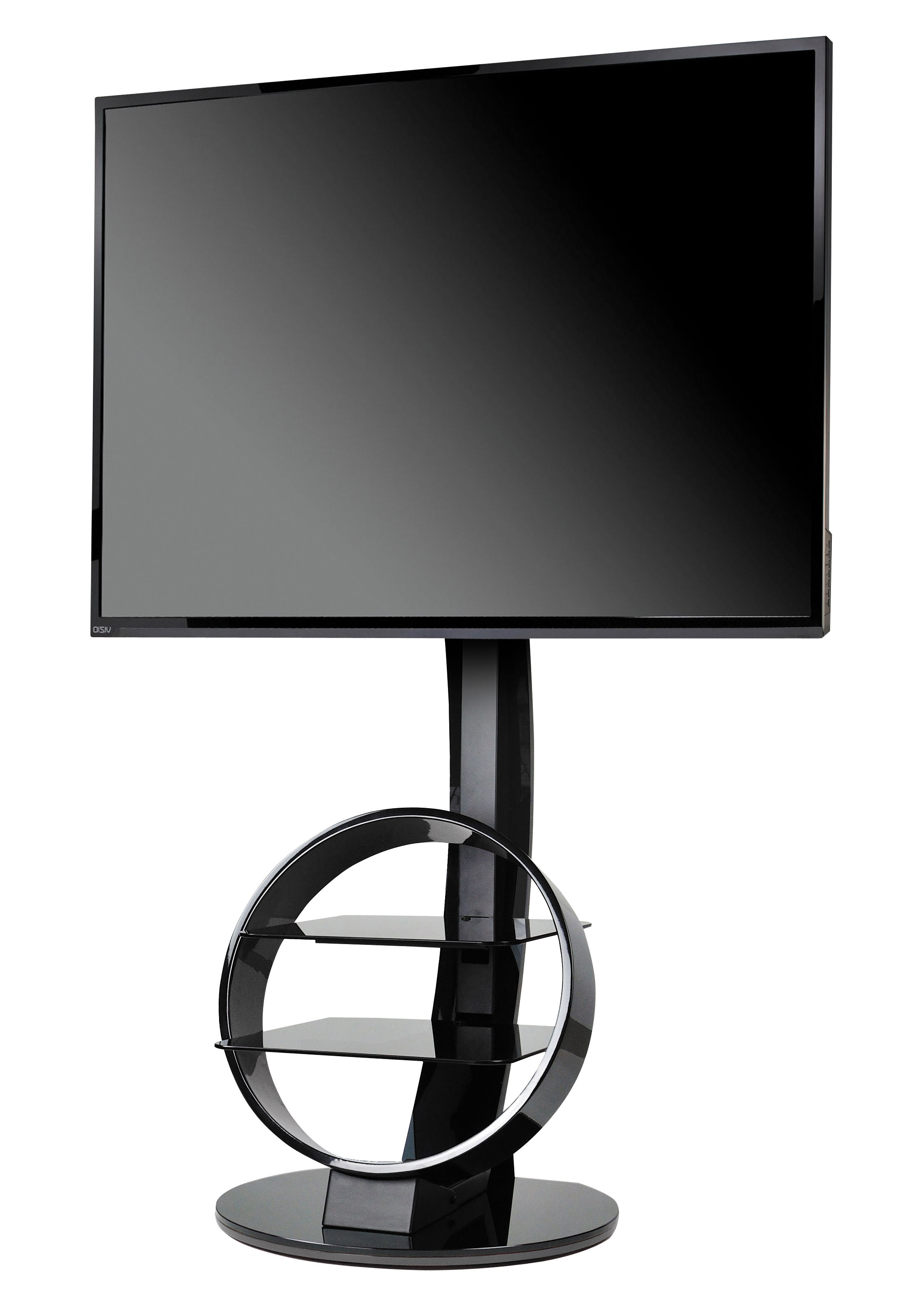 Circle Television Table With Stand Black By Ateca Made In Design Uk