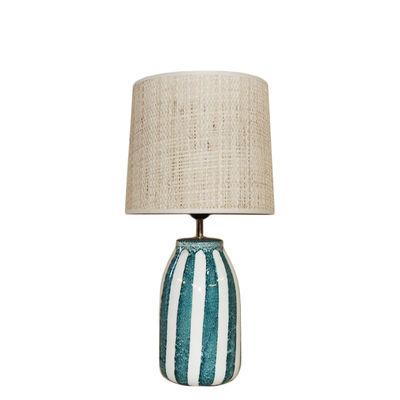 Leuchten - Tischleuchten - Palmaria Small Tischleuchte / H 48 cm - Keramik & Bast - Maison Sarah Lavoine - Blau Sarah - Keramik, Natürlicher Rabane