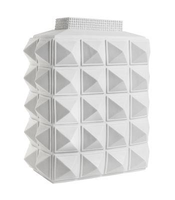 Déco - Vases - Vase Charade Block Studded / Porcelaine - H 33 cm - Jonathan Adler - Blanc mat - Porcelaine blanche mate