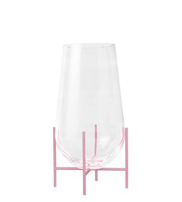 Interni - Vasi - Vaso Echasse Small - / H 28 cm - Edizione limitata & numerata 20 anni MID di Menu - Trasparente & rosa - Acciaio laccato, Vetro