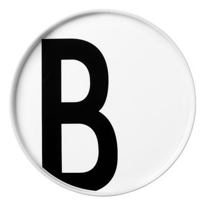 Arts de la table - Assiettes - Assiette Arne Jacobsen / Porcelaine - Lettre B - Ø 20 cm - Design Letters - Blanc / Lettre B - Porcelaine de Chine