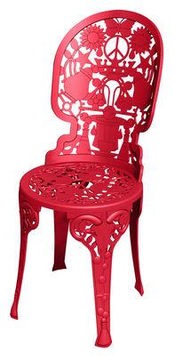 Chaise Industry Garden Seletti rouge en métal