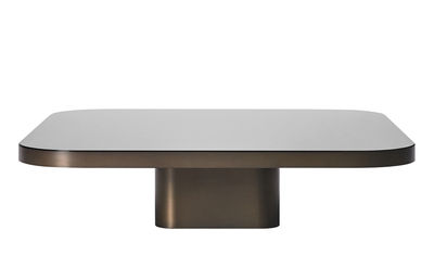 Furniture - Coffee Tables - Bow n°5 Coffee table - / 100 x 100 cm by ClassiCon - Burnished brass / Black tray - Brass, Glass