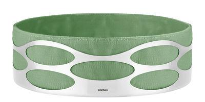 Arts de la table - Corbeilles, centres de table - Corbeille à pain Embrace /Ø 23 x H 7 cm - Stelton - Vert d'eau / Acier - Acier inoxydable, Coton