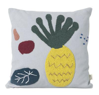 Déco - Pour les enfants - Coussin Ananas / Brodé - 40 x 40 cm - Ferm Living - Ananas / Bleu -  Duvet,  Plumes, Coton