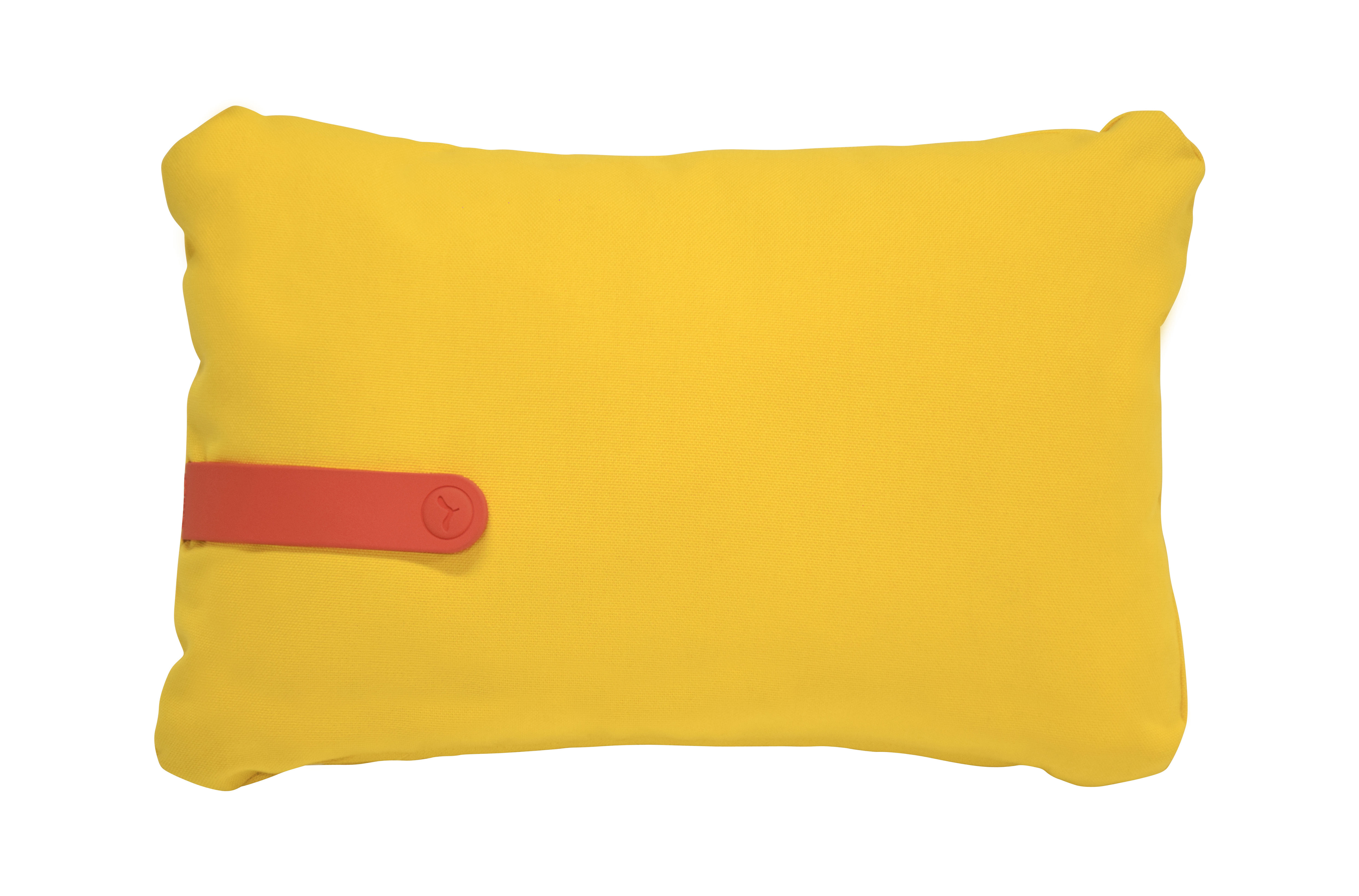 Interni - Cuscini  - Cuscino da esterno Color Mix / 44 x 30 cm - Fermob - Giallo / Cinghia nasturzio - Espanso, PVC, Tessuto acrilico