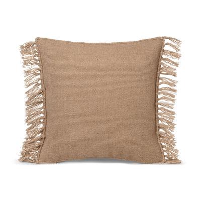 Decoration - Cushions & Poufs - Kelim Fringe Cushion - / 50 x 50 cm - Handwoven by Ferm Living - Sand - Cotton, Wool