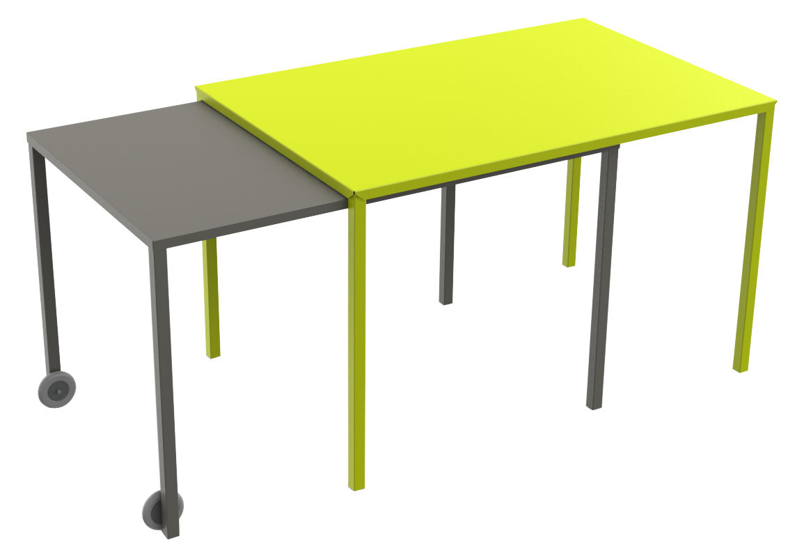 Furniture - Dining Tables - Rafale S Extending table by Matière Grise - Anis green / taupe - Epoxy painted steel