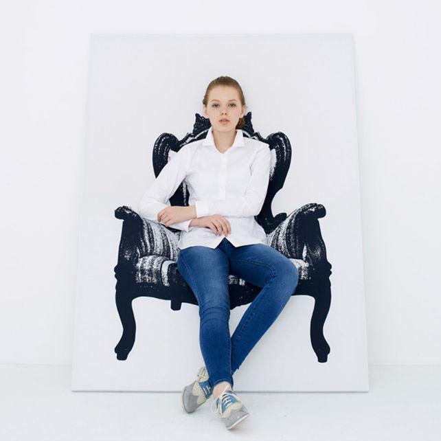 Mobilier - Fauteuils - Fauteuil Canvas / Tableau trompe-l'œil - L 110 cm - Innermost - Noir & blanc - Bois massif, Lycra