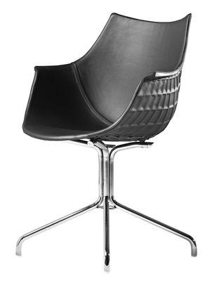 Mobilier - Chaises, fauteuils de salle à manger - Fauteuil Méridiana / Cuir - Driade - Cuir noir - Acier chromé, Cuir, Polycarbonate