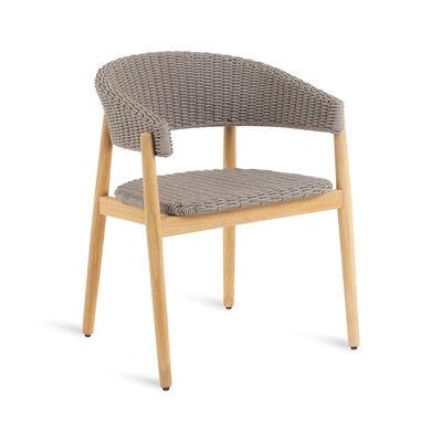 Mobilier - Chaises, fauteuils de salle à manger - Fauteuil Pevero / Teck & corde synthétique - Unopiu - Teck / Corde Taupe - Corde polypropylène, Teck