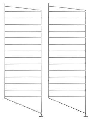 Furniture - Bookcases & Bookshelves - String® Outdoor Floor mount - / Galvanised steel - H 85 x D 30 cm - Set of 2 by String Furniture - Set of 2 / galvanised - Galvanized steel