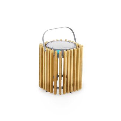 Illuminazione - Lampade da tavolo - Lampada solare Solare - / Teak - H 30 cm / Ricarica solare o USB di Unopiu - Grafite / Teak - Alluminio, Teck