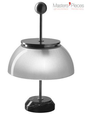 Luminaire - Lampes de table - Lampe de table Masters' Pieces - Alfa / Base marbre - 1959 - Artemide - Blanc, métal / Marbre noir - Marbre, Métal nickelé, Verre