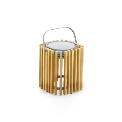Luminaire - Lampes de table - Lampe solaire Solare / Teck - H 30 cm / Recharge solaire ou USB - Unopiu - Graphite / Teck - Aluminium, Teck