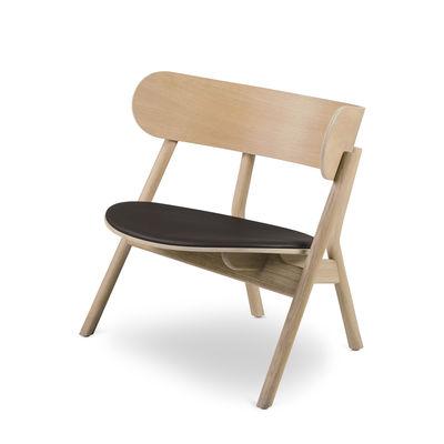 Furniture - Armchairs - Oaki Low armchair - / Leather seat - Oak by Northern  - Light oak / Dark brown leather - Leather, Oak plywood, Solid oak