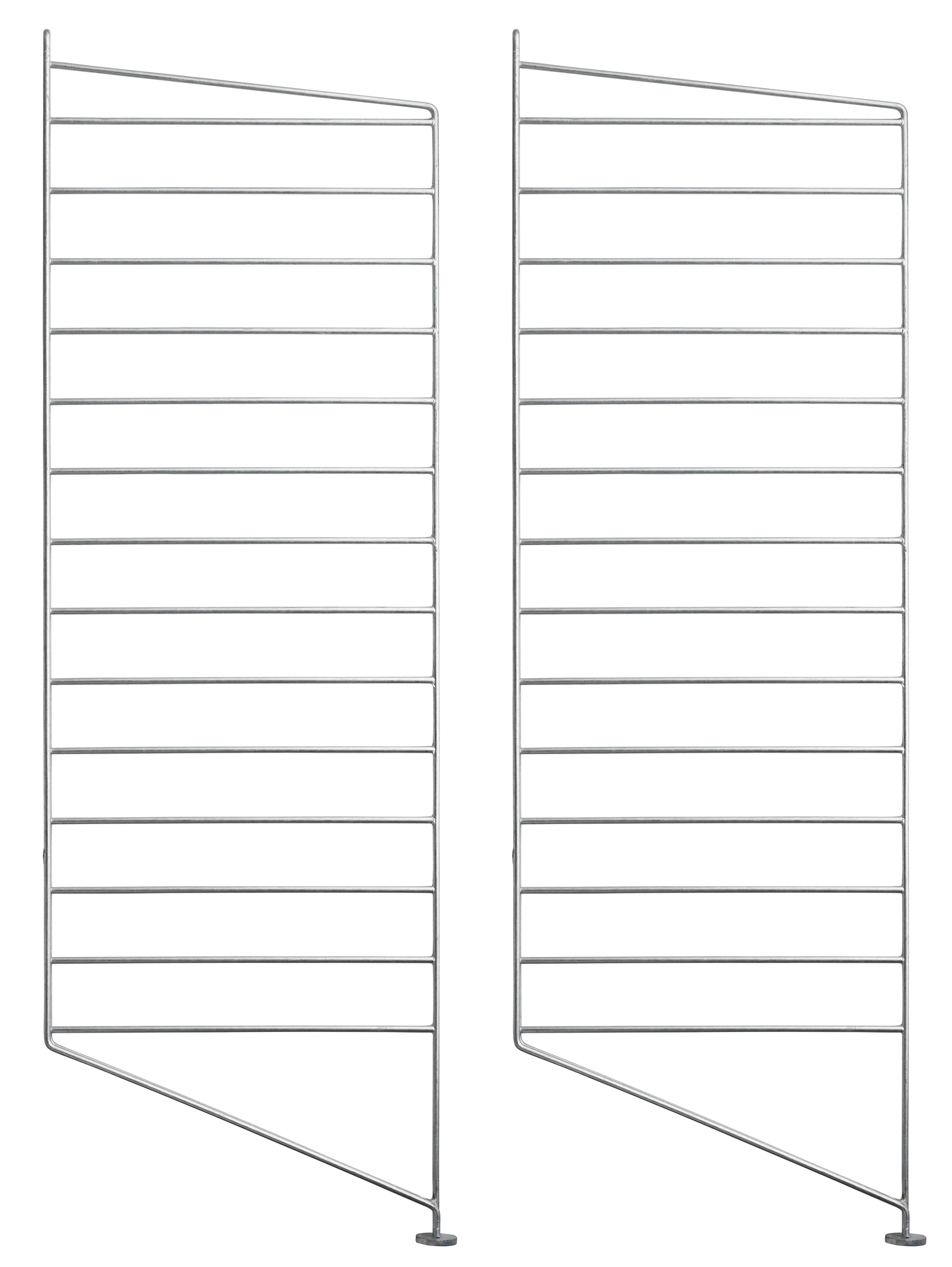 Arredamento - Scaffali e librerie - Montanti laterali String Outdoor - / Acciaio zincato - H 85 x P 30 cm - Set da 2 di String Furniture - Set da 2 / Zincato - Acciaio galvanizzato