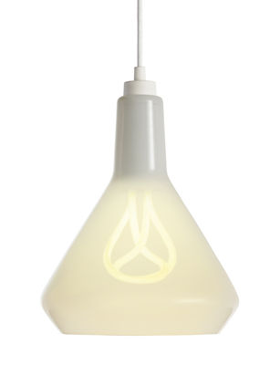 Lighting - Pendant Lighting - Drop Top A Pendant - glass / with Plumen bulb n°001 by Plumen - White shade / White cord - Fabric, Mouth blown glass