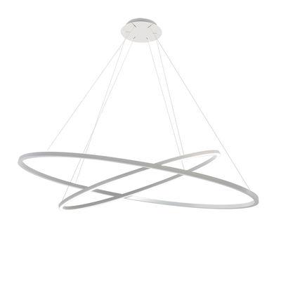 Lighting - Pendant Lighting - Ellisse Double LED Pendant - / Ø 135 cm by Nemo - White - Extruded aluminium