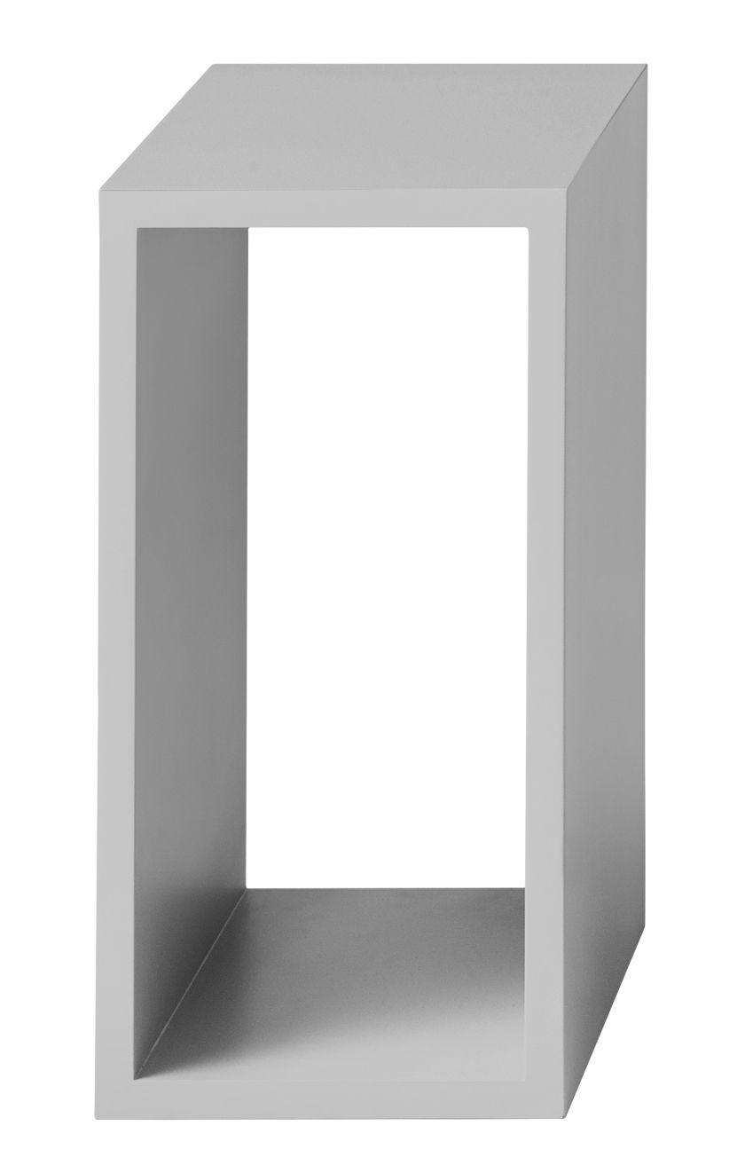Möbel - Regale und Bücherregale - Stacked Regal / Größe S - rechteckig - 43 x 21 cm / ohne Rückwand - Muuto - Hellgrau - mitteldichte bemalte Holzfaserplatte
