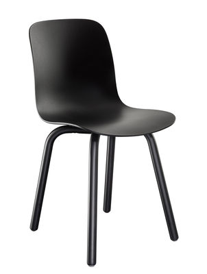 Furniture - Chairs - Substance Indoor Stacking chair - / Plastic & metal feet by Magis - Black - Polypropylene, Varnished steel