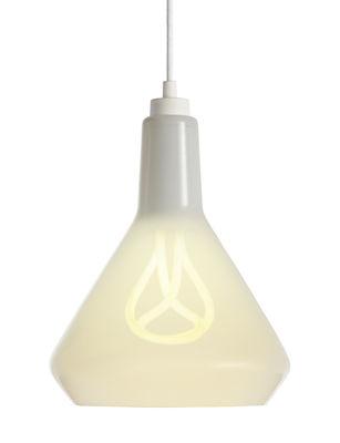 Luminaire - Suspensions - Suspension Drop Top A en verre / avec ampoule Plumen n°001 - Plumen - Blanc / Câble blanc - Tissu, Verre soufflé bouche