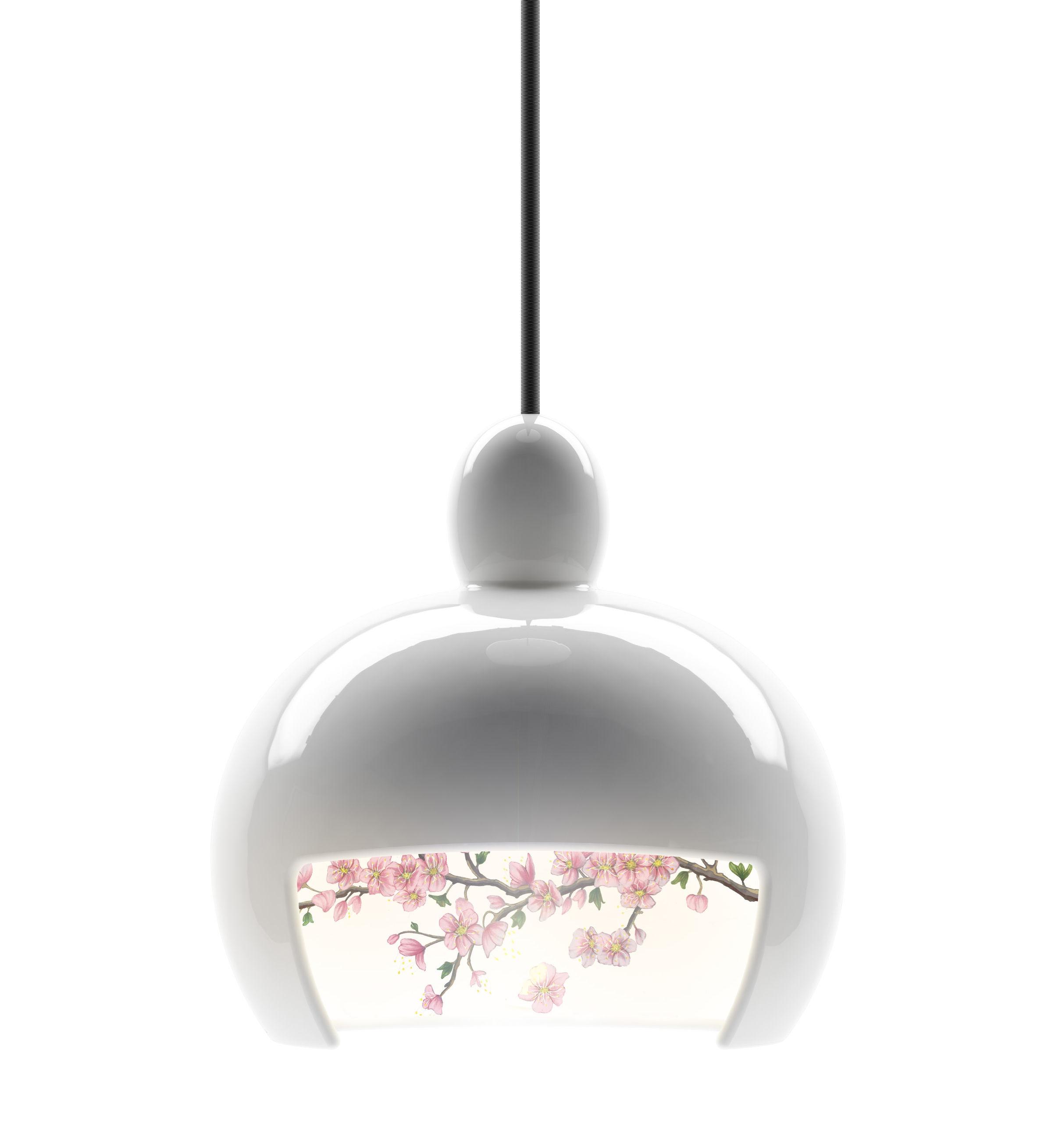 Luminaire - Suspensions - Suspension Juuyo - Peach Flowers - Moooi - Blanc - Motif fleurs de pêcher - Céramique, Textile