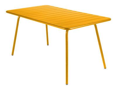 Table Luxembourg / 6 personnes - 143 x 80 cm - Aluminium - Fermob miel en métal