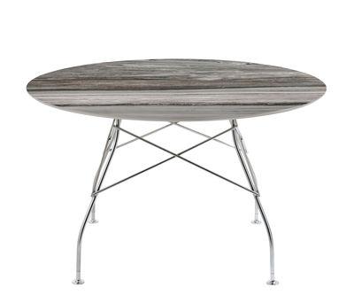 Table ronde Glossy Marble / Ø 128 cm - Grès effet marbre - Kartell gris,chromé en céramique