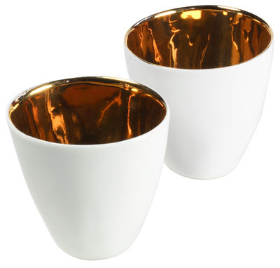 Arts de la table - Tasses et mugs - Tasse Assoiffées lot de 2 - Tsé-Tsé - Intérieur émaillé Or - Blanc - Porcelaine