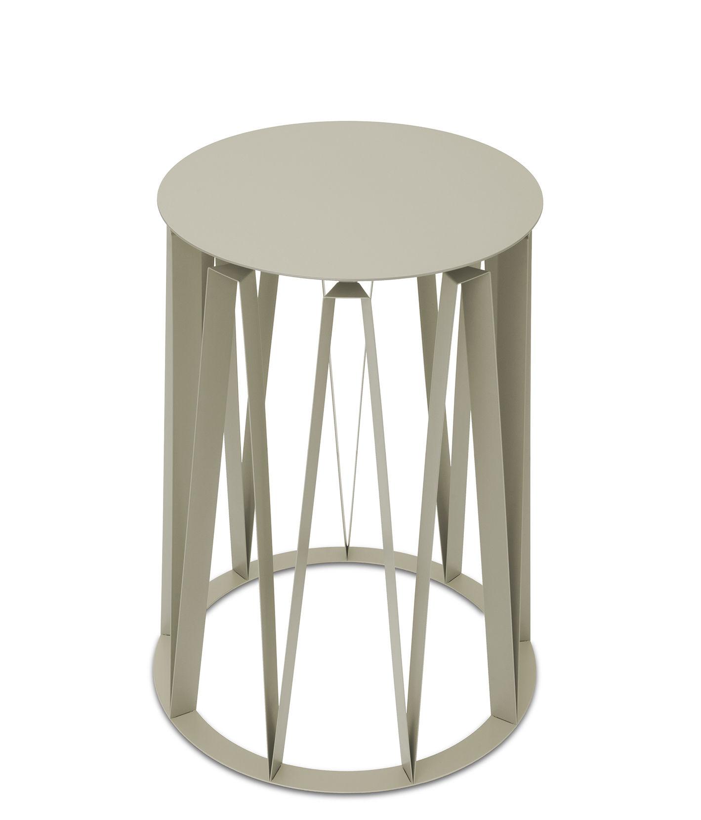 Arredamento - Tavolini  - Tavolino d'appoggio Achille - / Ø 45 x H 58 cm - Metallo di Presse citron - Mastice - Lamiera in acciaio laccato