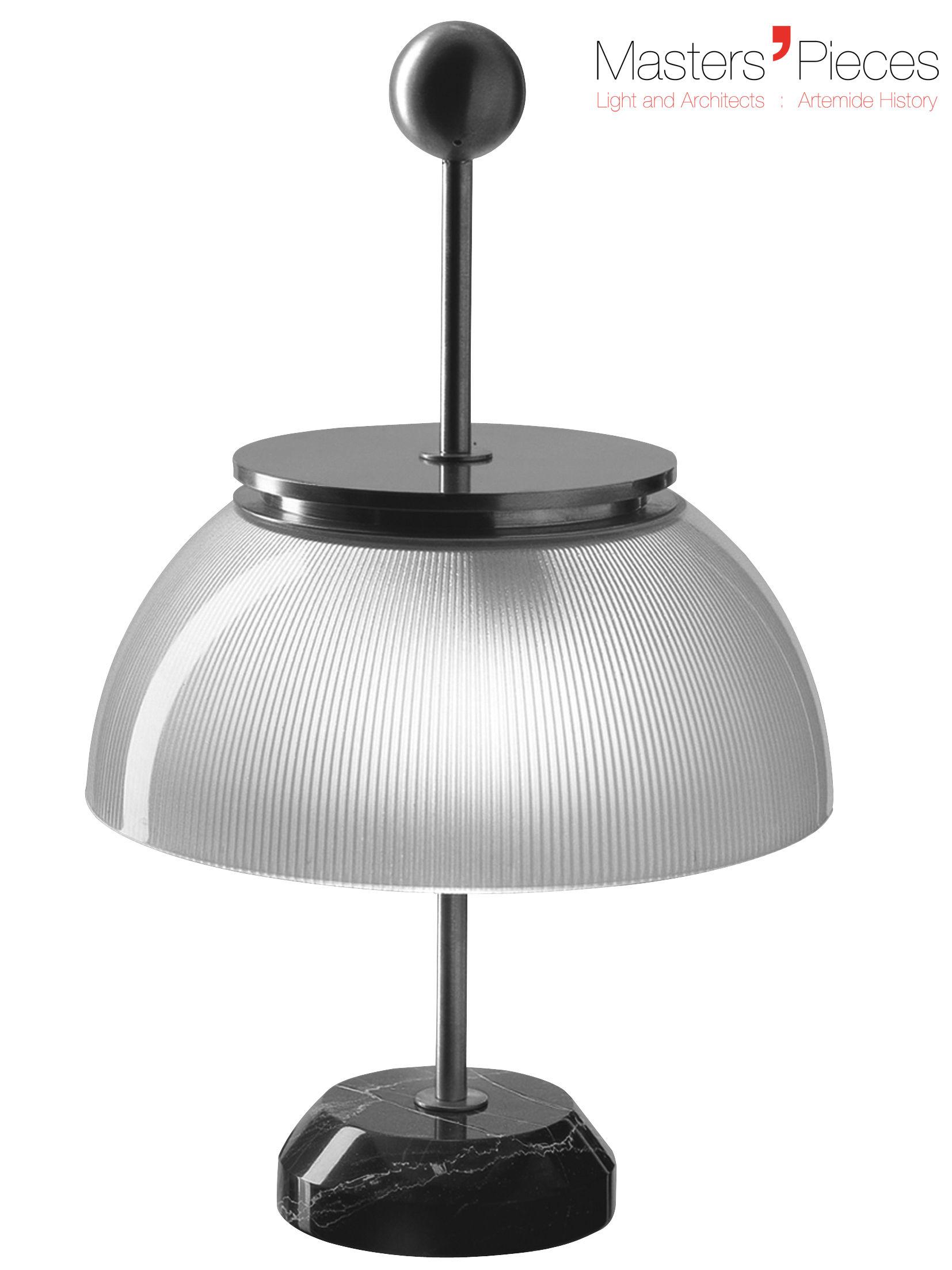 Leuchten - Tischleuchten - Masters' Pieces - Alfa Tischleuchte / Marmor-Sockel - 1959 - Artemide - Weiß, Metall / schwarzer Marmor - Glas, Marmor, vernickeltes Metall