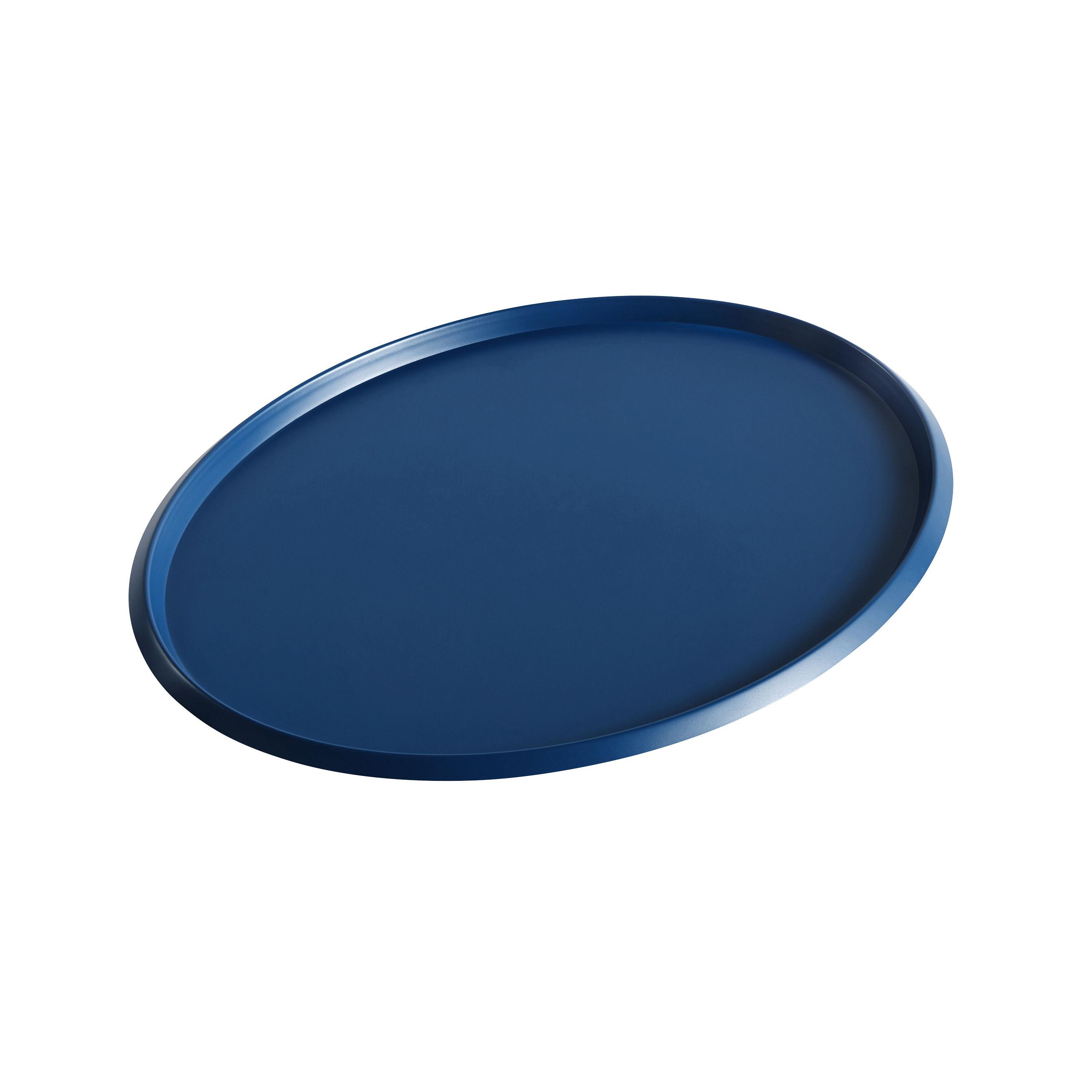 Tableware - Trays - Ellipse Large Tray - / 39 x 31 cm - Metal by Hay - Blue - Painted steel