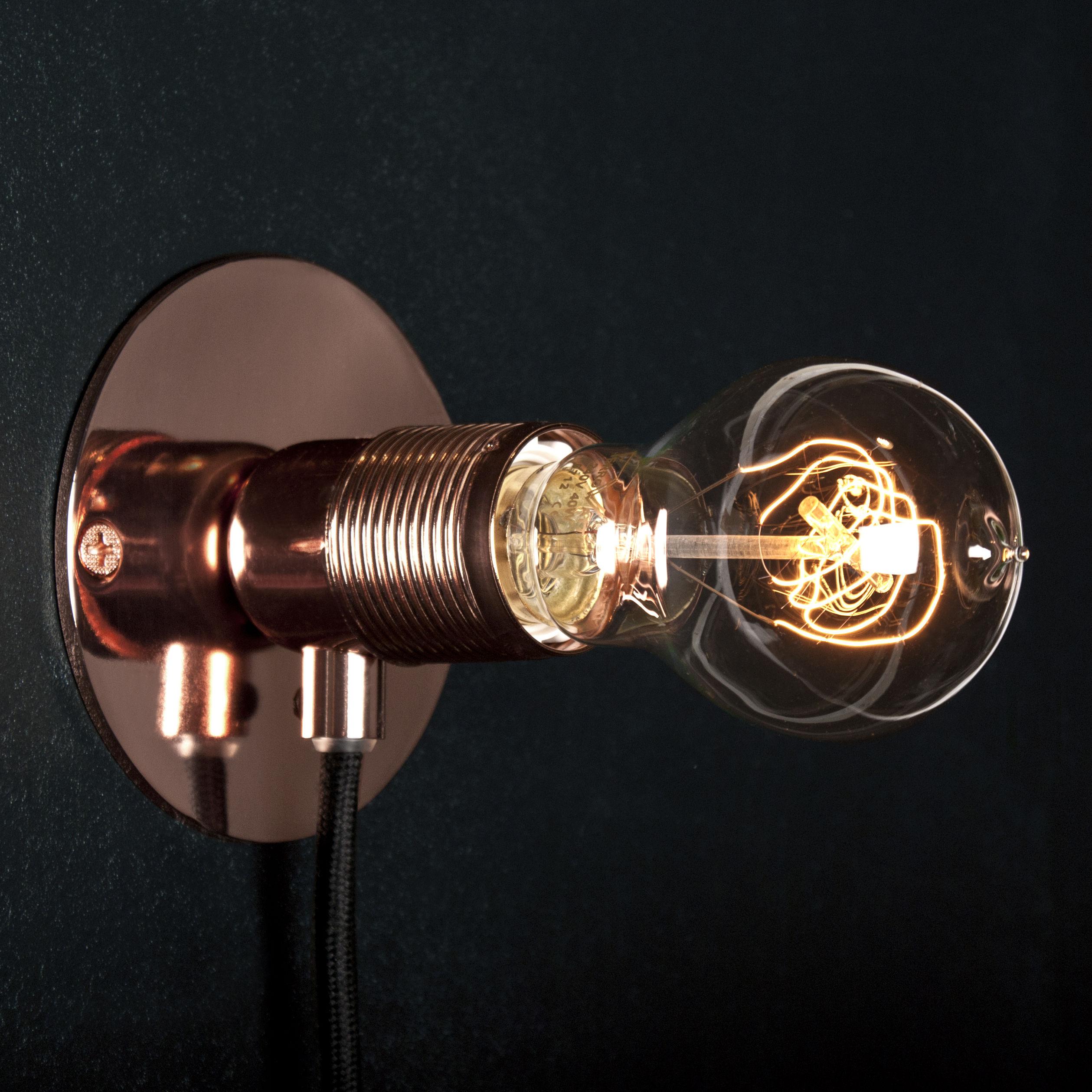 Lighting - Wall Lights - Frama Kit Wall light with plug - Small - Ø 12 cm by Frama  - Copper - Metal