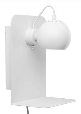 Applique avec prise Ball / Etagère - Avec port USB - Frandsen blanc mat en métal